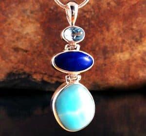 ENTIA ~ Blue Topaz, Lapis Lazuli & Hemmimorphite Pendant ~ Item A