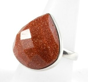 Red Goldstone Ring ~ Item A ~ Size  R-UK, 8 3/4-US, 58 1/2-EU