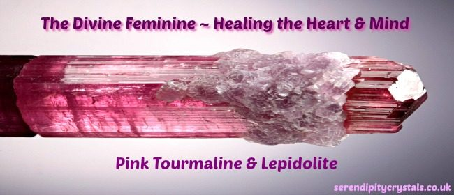Pink Tourmaline & Lepidolite in Quartz